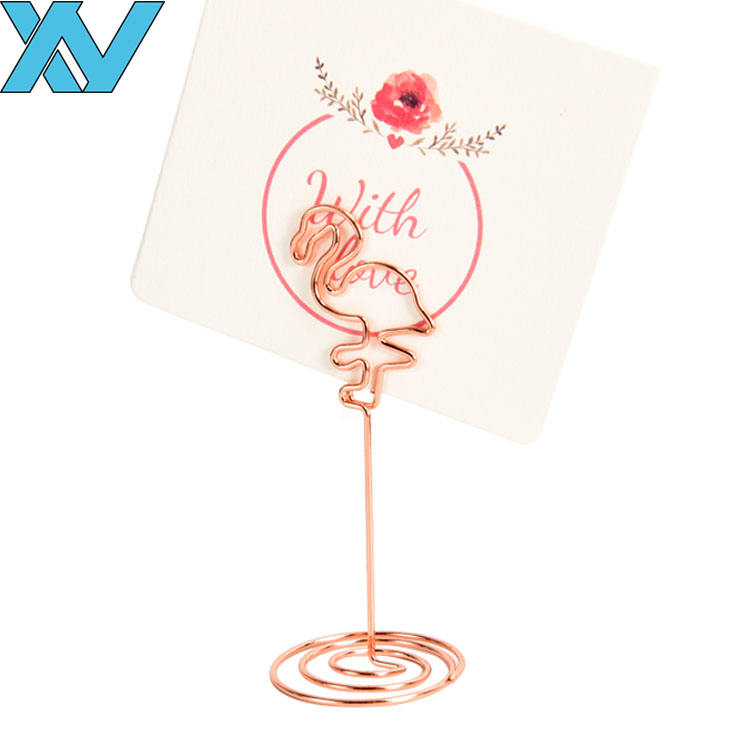rose gold flamingo shaped metal wire photo paper clip holder memo clip