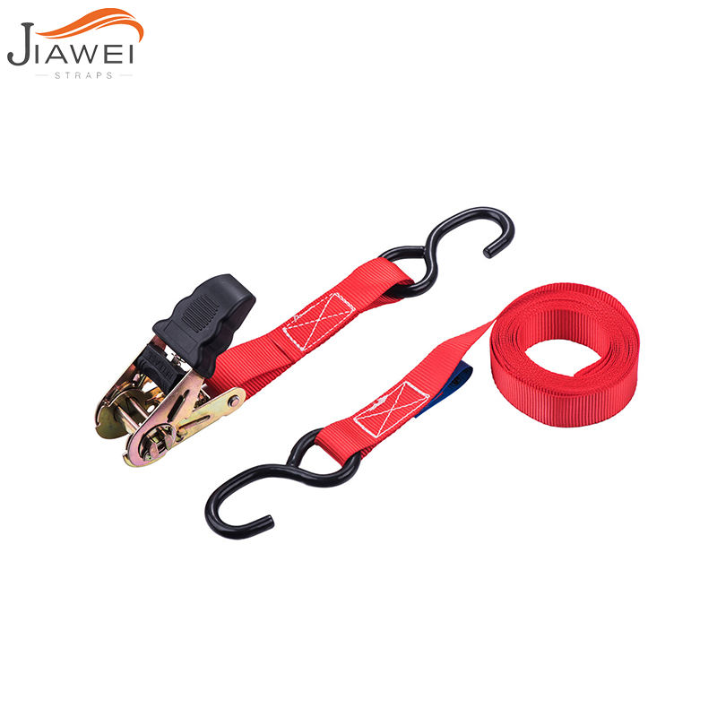 25mm mini Cargo Lashing Bike motorcycle tie down strap belt Rachet Straps Buckle with S hook with lashing