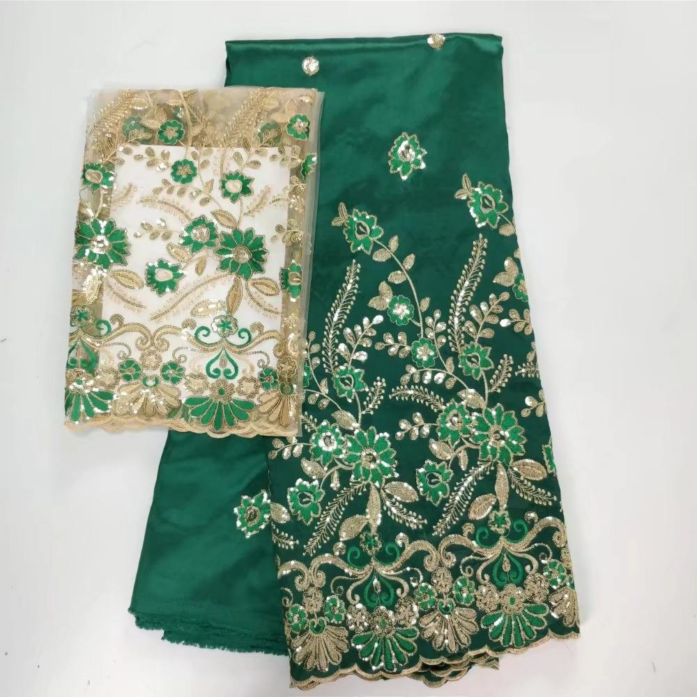 Green color Nigerian wholesale India George wrappers with french lace blouse silk African George fabrics