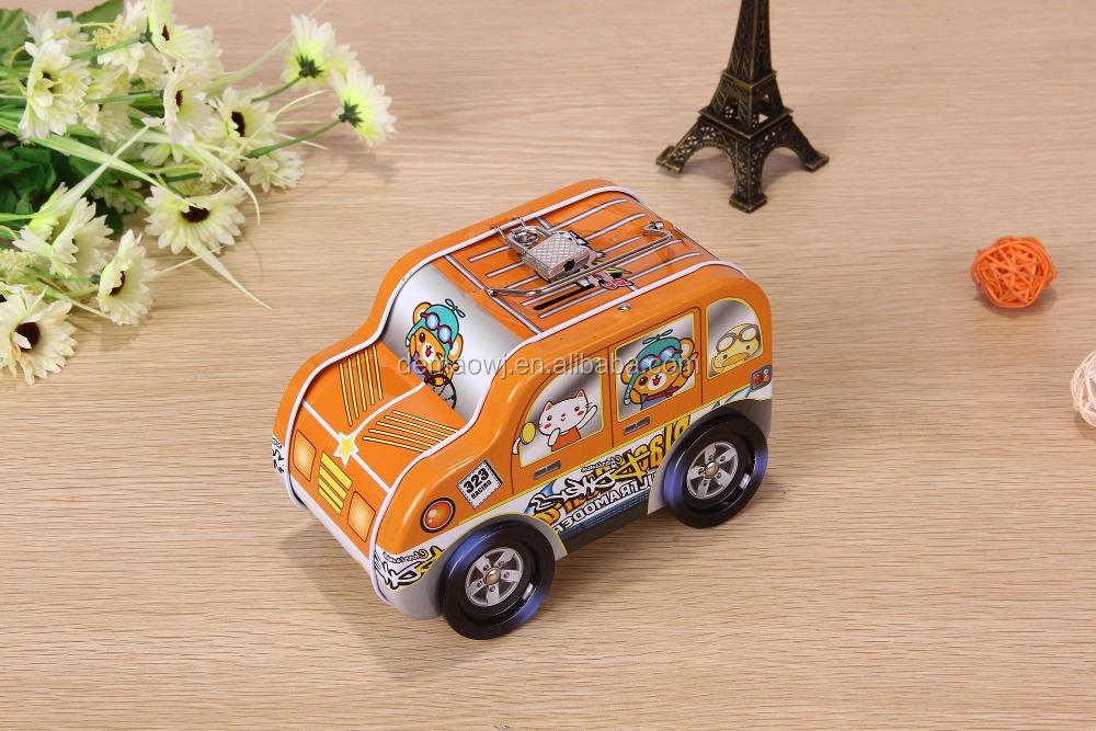 Venta grande regalo de los niños personalizada off road vehículo forma estaño metal de ahorro de dinero del banco con el bloqueo