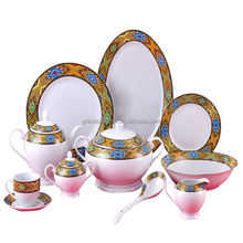 Porcelain Ceramic 47pcs queen sheba Ethiopian art Dinnerware Set Coffee Cups set with Rekebot Jebena