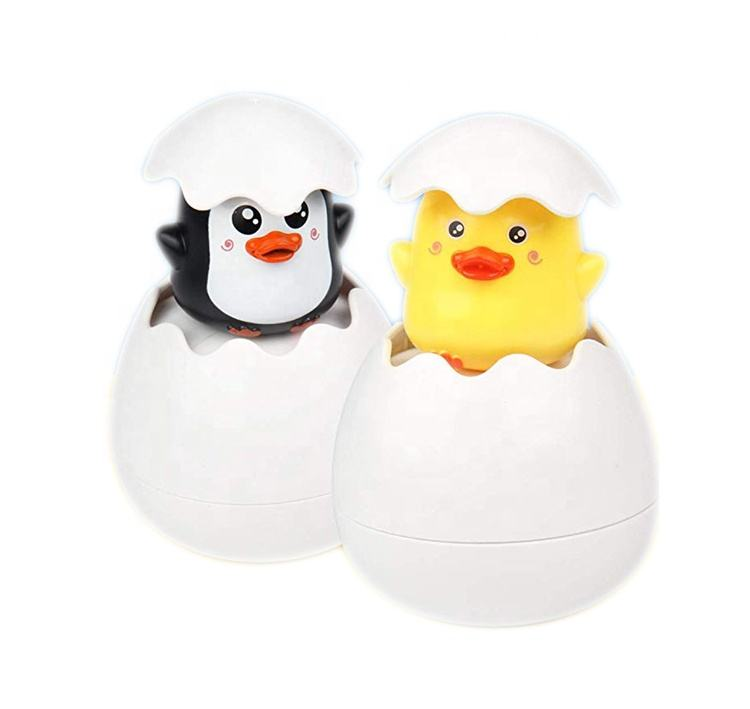 Educational Toy Unique Bath Toys Pop-Up Hatch Egg Penguin Duck Egg Shaped Float Bath Shower Spray Water Sprinkling Water Toys