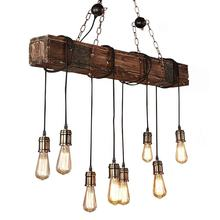 Indoor retro Hanging Rustic Metal loft Vintage LED lamp Wooden beaded Chandelier Pendant lighting