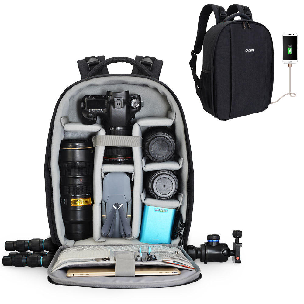 CADeN D10 Camera Backpack Professional DSLR Bag with USB Charging Port Rain Cover Photography Laptop Backpack