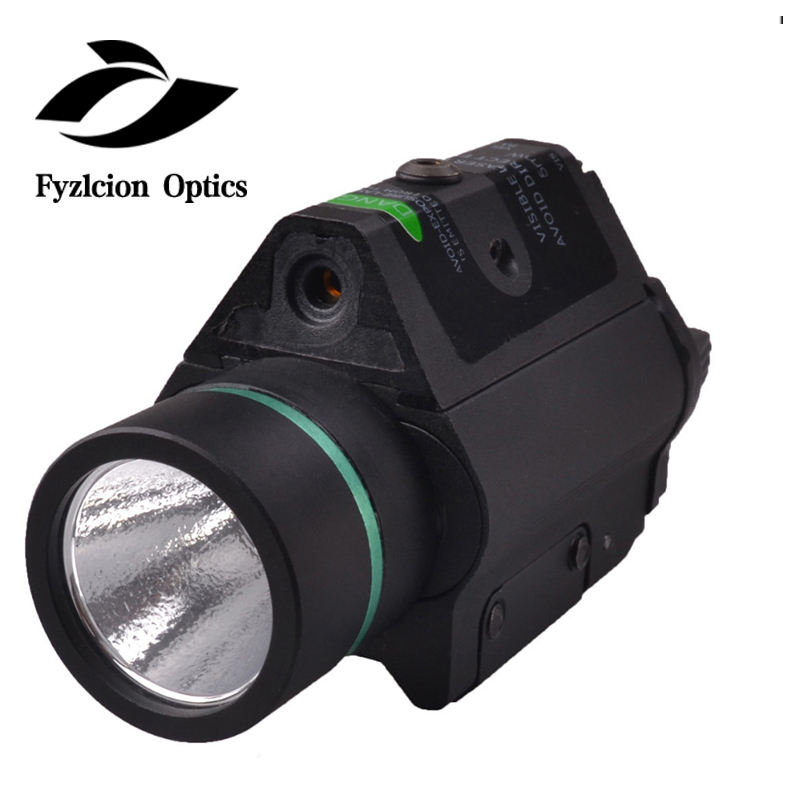 2 in1 Combo CREE Tactical Flashlight Green Sight Combo With Pressure Switch For Pistol Rifle Picatinny Weaver Rail