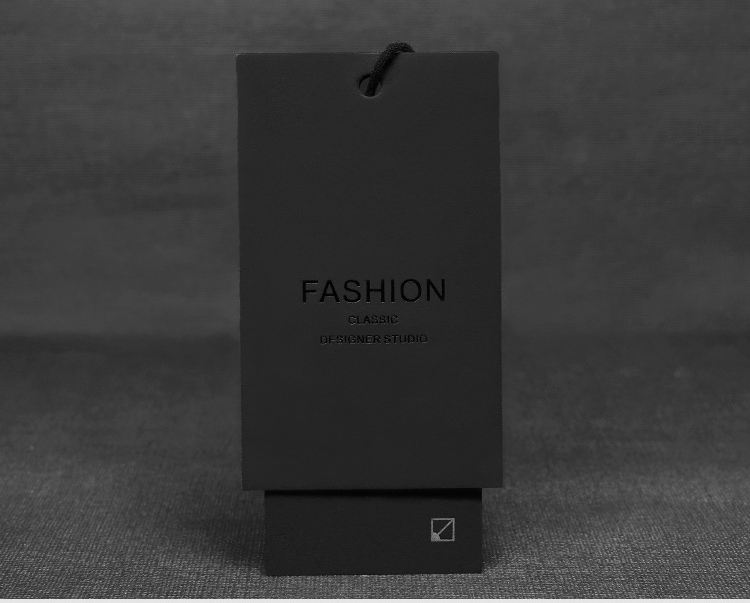 custom printed logo luxury black kraft paper string hang tag label for watch sunglasses t shirt shoes