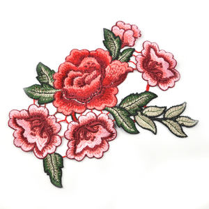 3D atacado handmade red flower design patches bordados para vestuário WEF-004