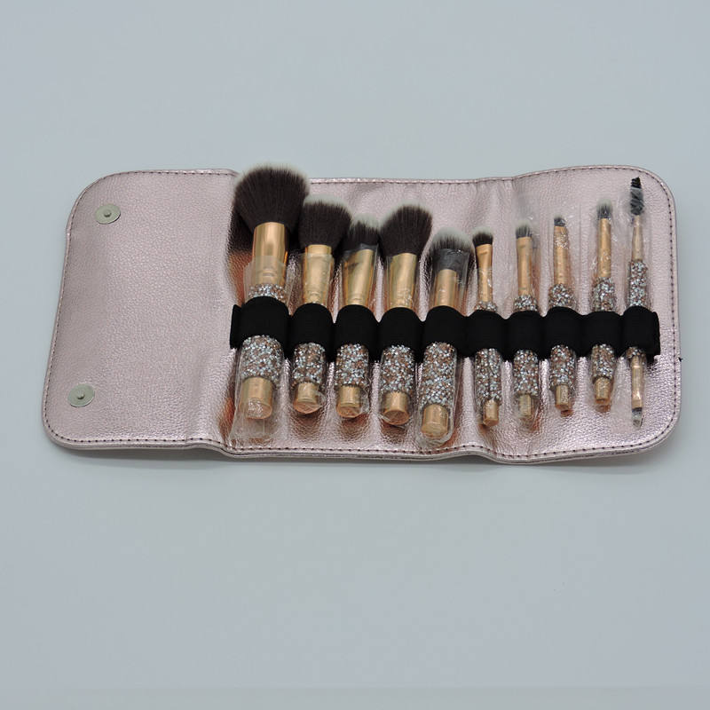 ps plastic handle drill brush glitter makeup brush set 10 synthetic hair band rose gold brush bag