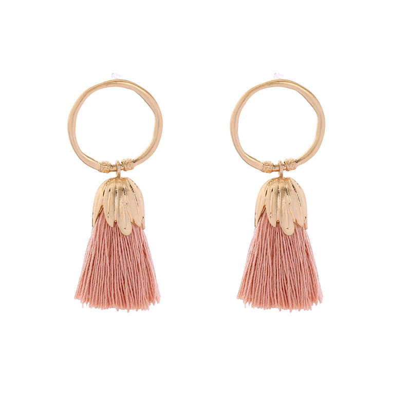 ed00614c Winter Sun Series Cute Pink Little Tassel Earring Hoop Earrings Jewelry