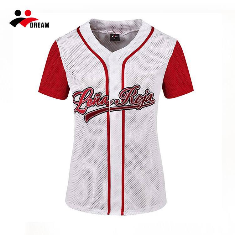 Dream Sport Rode En Witte Dame Honkbal Jerseys Shirt Buy