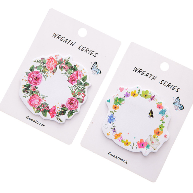 Cute Wreath Sticky Notes Diary Adhesive Note Stickers Stickers Memo Pad