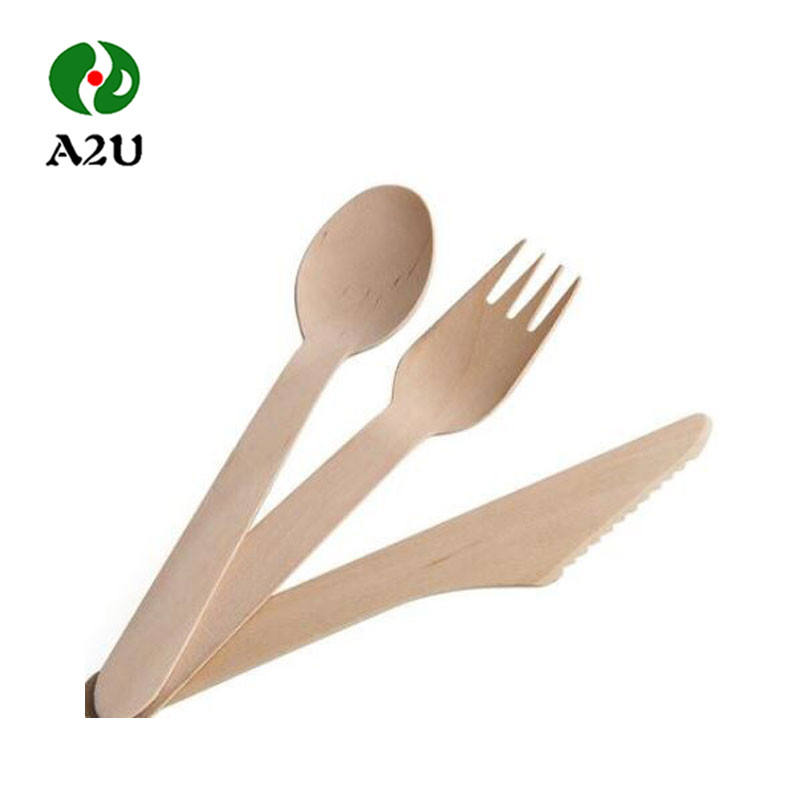 Disposable Spoon Knife Fork Bamboo Wooden Cutlery