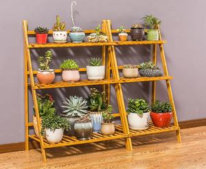 multi tiers bamboo flower pot shelf for plant stand rack organizer display
