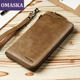 Factory direct new vintage cow hide genuine leather mens business casual zipper wallet purse for men