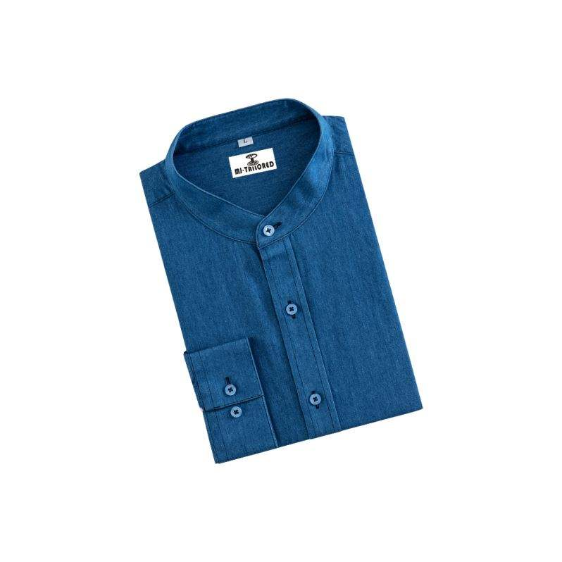 FACTORY PRICE MEN'S LONG SLEEVE SHIRT MANDARIN COLLAR CASUAL SHIRT SOLID BLUE DENIM DRESS SHIRT