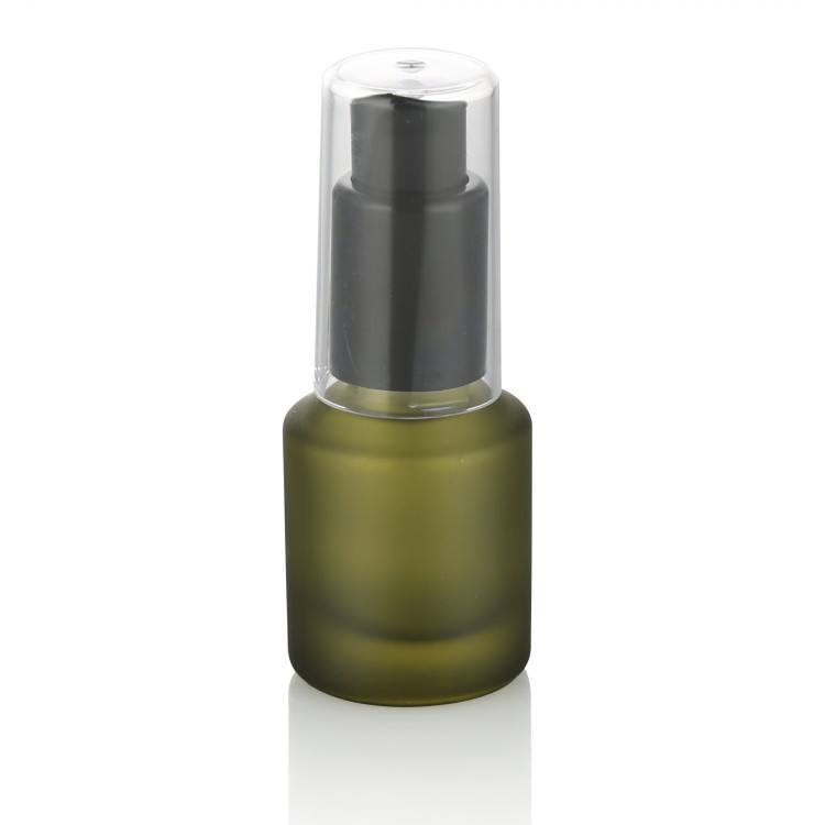 small capacity cosmetic packaging frosted green glass bottle with pump 15 ml plastic cap