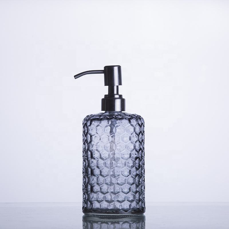 wholesale decorative refillable clear glass liquid soap dispensers for bathrooms