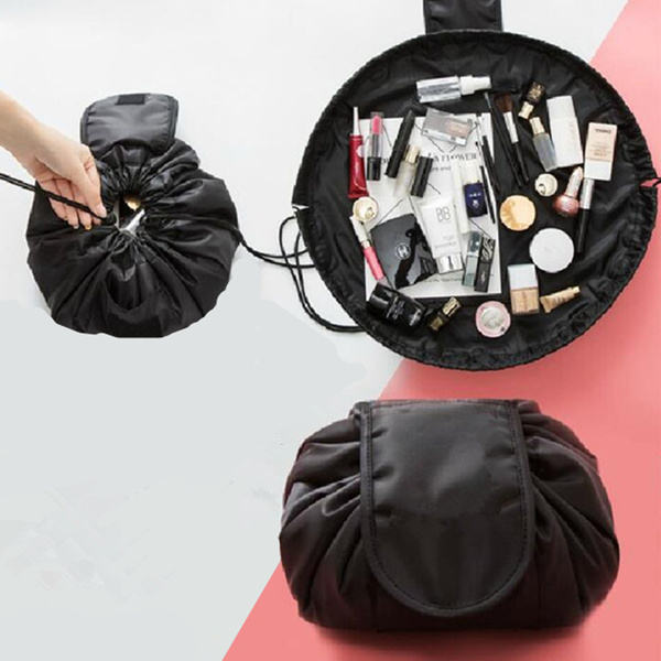 Custom Printing Portable Drawstring MagNylon Round Drawstring Cosmetic Bag High Capacity Barrel Shaped Storage Travel Makeup Bag