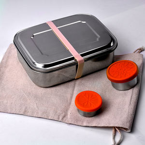 OEM custom made airtight 3 compartment meal prep containers bento box lunch stainless steel with bag
