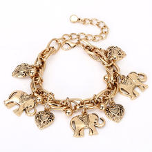 Fashion Retro Jewelry Gold Silver Color Thick Alloy Chains Carved Elephant Heart Pendant Anklet Sand Beach Anklet