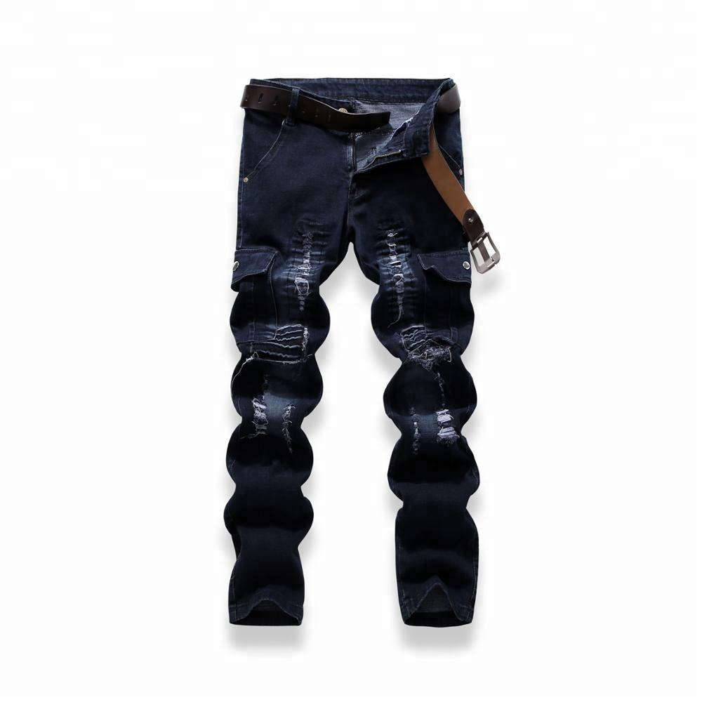 Custom size of biker cutting blue new fashion for man pants custom made cargo work wear trousers by OEM yulinjeaans