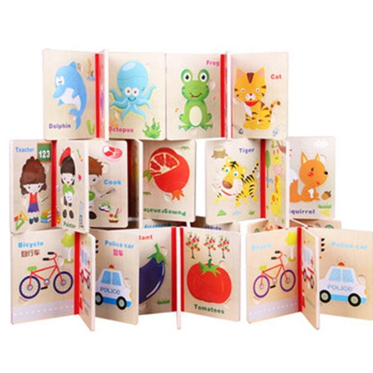 Wholesale kids toys Preschool Learning Vegetables Cognitive Montessori Toy Mini Fruit Wooden Jigsaw Puzzle Book