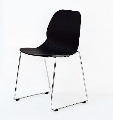 Modern Design Plastic Dining Chair Sled Chrome Base for Reception or Public Area
