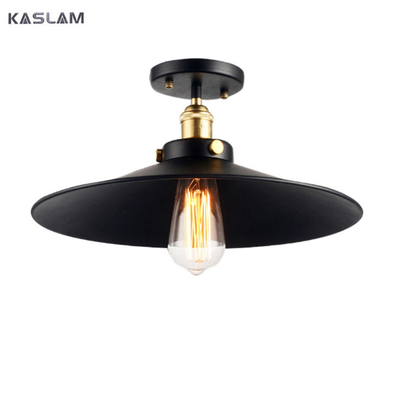 Edison Vintage American E27 E26 Ceiling Lamp Metal Black Aisle Lights Balcony Ceiling Lamps For Home Modern Vintage Decorations