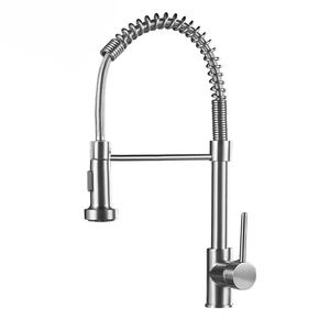 Fapully Contemporary Spring Pull-down Faucet,Single Handle Kitchen Sink Faucet with 2 Function Sprayer, Brushed Nickle Faucet