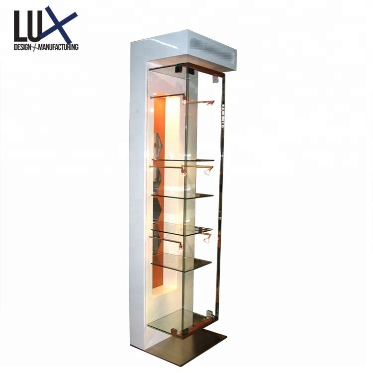Luxury design customized wooden glass showcase LED lighting display shelf for watch store