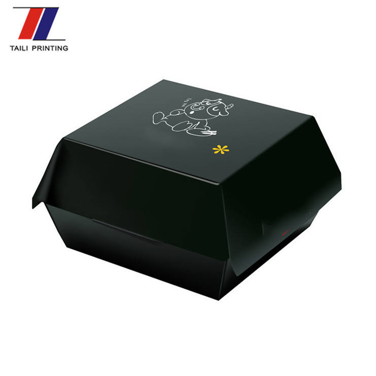 Hot selling custom disposable burger box black bb5 carton burger box
