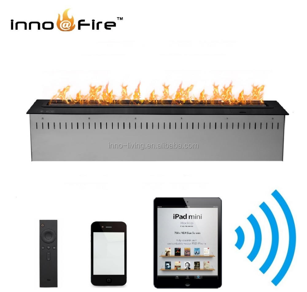 Inno-living modern electric fireplace 60 inch black/silver ethanol burner wifi