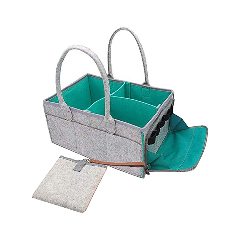 Wholesale Felt Organizer Hanging Bag Portable Storage Basket Baby Diaper Caddy With Changing Pad