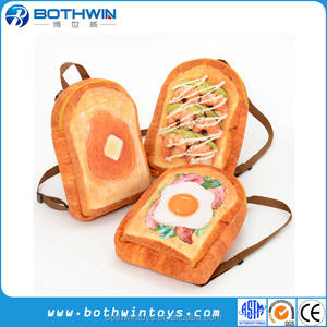 3D Simulation Toast Bread Backpack Funny Food Shape Plush Backpack