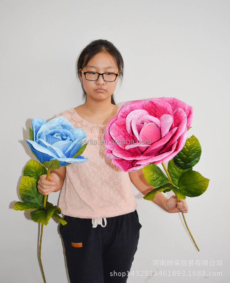Velvet Rose Giant Artificial Silk Flower For Wedding Decoration