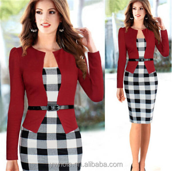 2016 Ebay Hot Selling Women Checked Pencil Ladies Long Sleeve One個Dresses With Belt