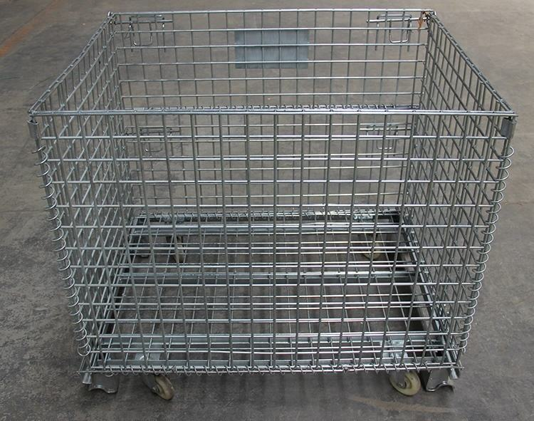 Folding stainless steel wire mesh storage cages basket