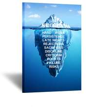 Canvas Quotes Wall Art Success Inspiration Motivation Iceberg Poster Stretched Gallery Wraps Giclee Print Ready