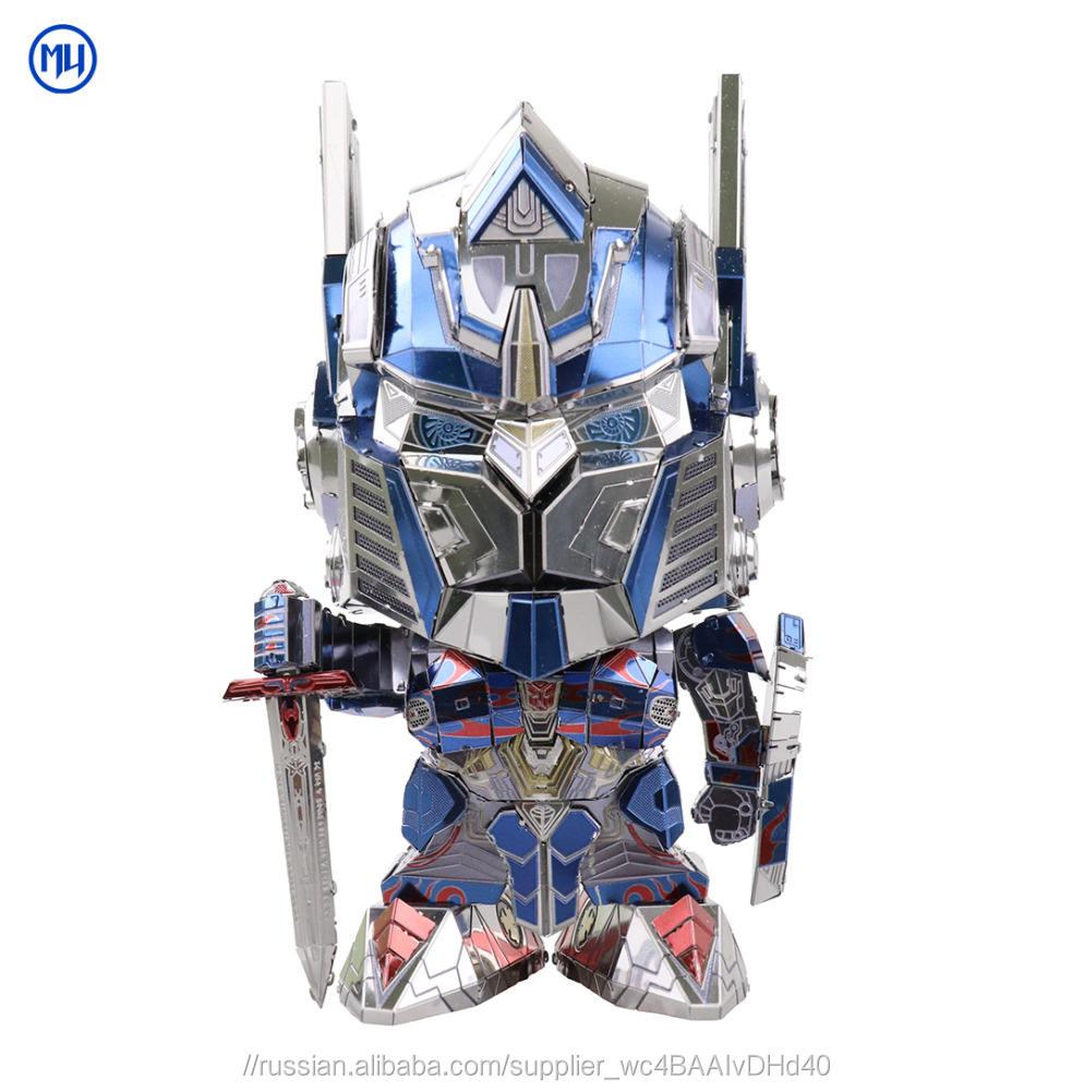 MU 2018 3D металл мини Трансформеры 5 Оптимус Прайм модель комплект DIY игрушки для взрослых головоломки