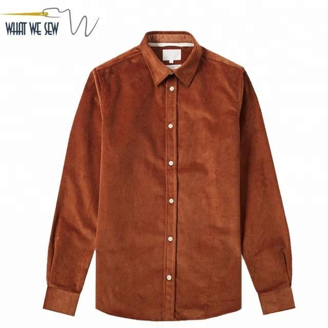 Custom Corduroy Shirt Mens Cotton Cord Shirt Autumn Mens Solid Shirt Wholesale