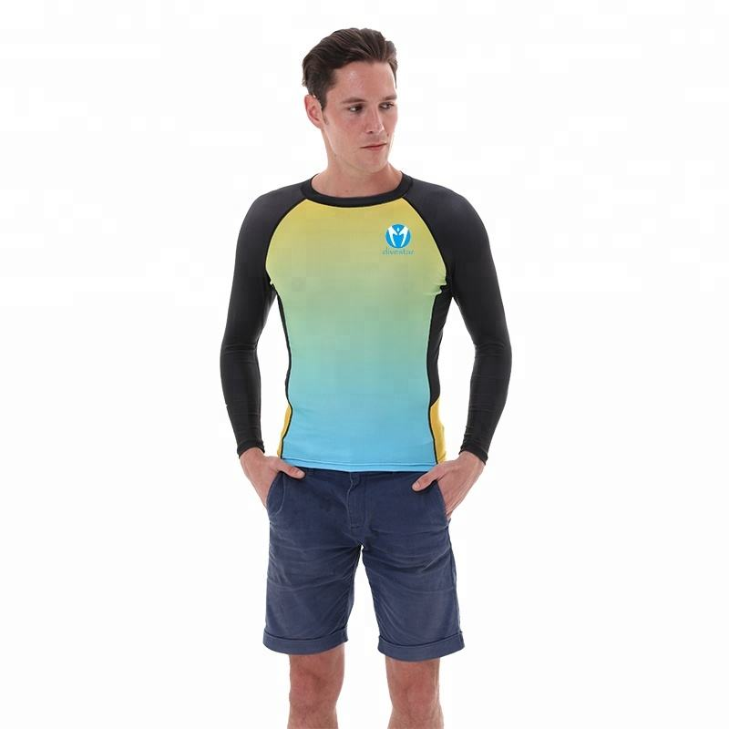 Divestar summer beach swimwear custom printed rash guard, high quality UPF surf custom rush guard