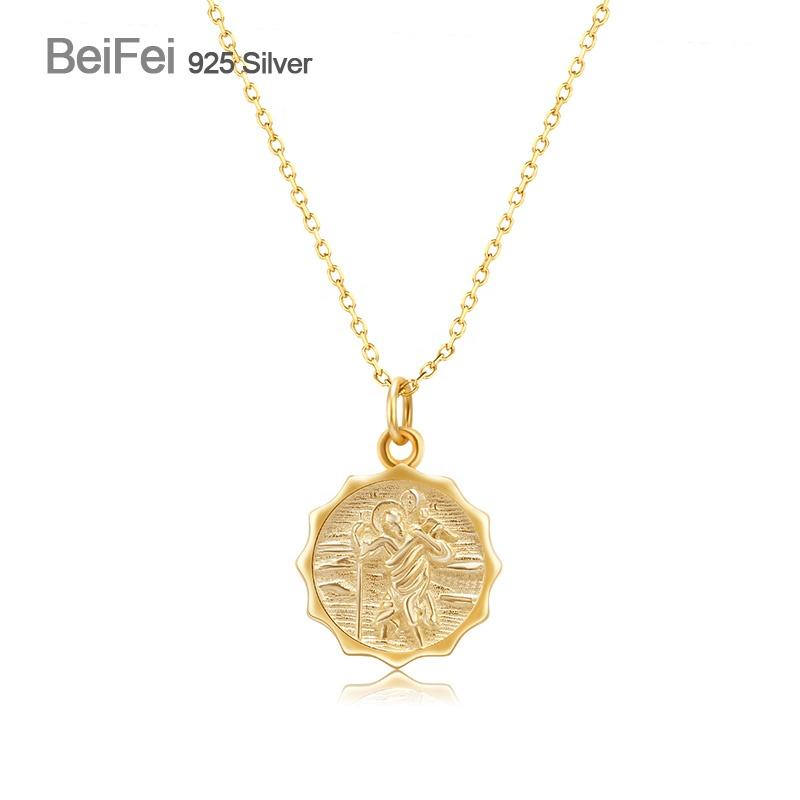 925 sterling silver gold plated Jesus round coin pendant necklace