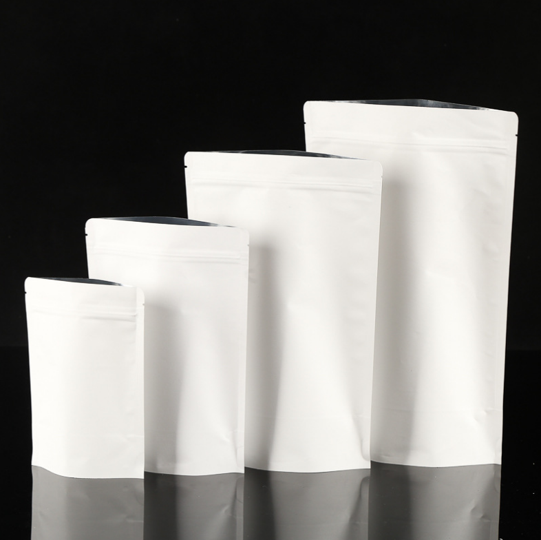stand up kraft pouch bag white