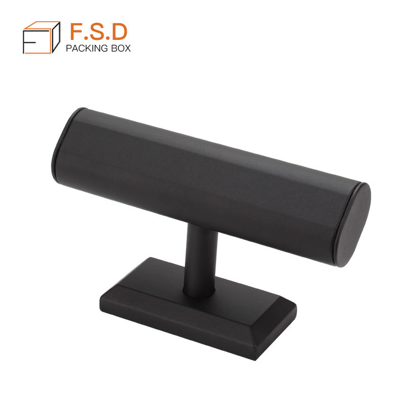 FSD high quality pu leather bracelet watch display bar stand holder bangle t-bar display rack