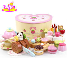 New arrival wooden birthday cake toy,DIY birthday present wood cake toy set,Colorful cutting play kid play set toys W10B102
