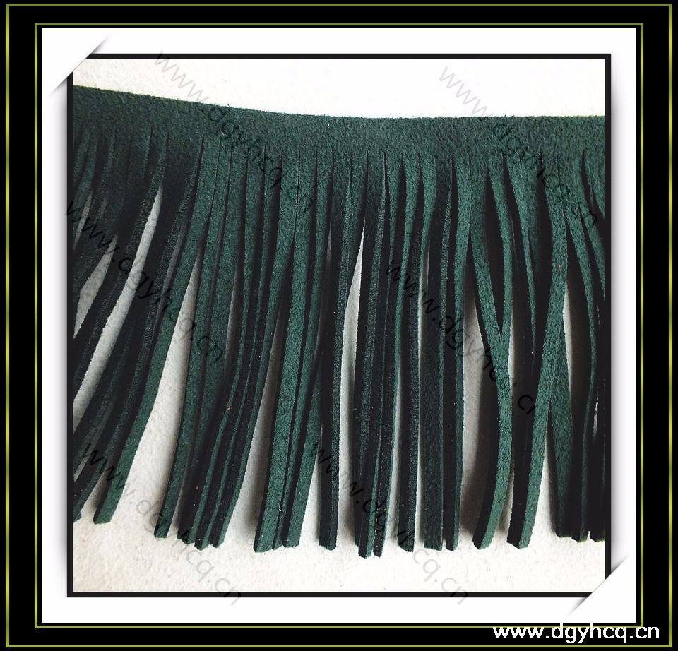 Popular microfiber suede leather fringe tassel faux leather synthetic leather tassel for decoration