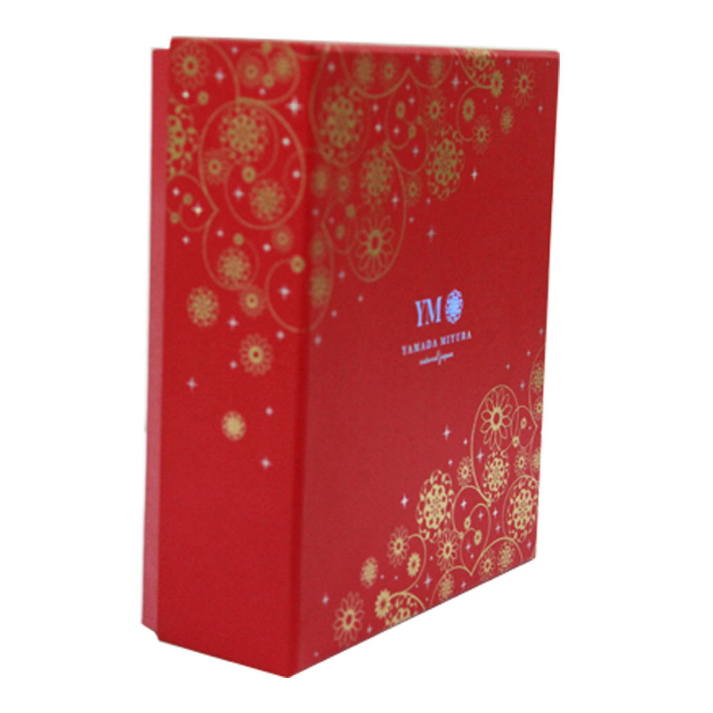 Beautiful new design red lid and base hot foil packaging hard cardboard gift box
