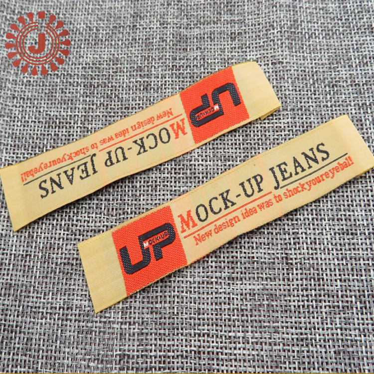 garment OEM woven label customized clothing woven main label tag manufacturer