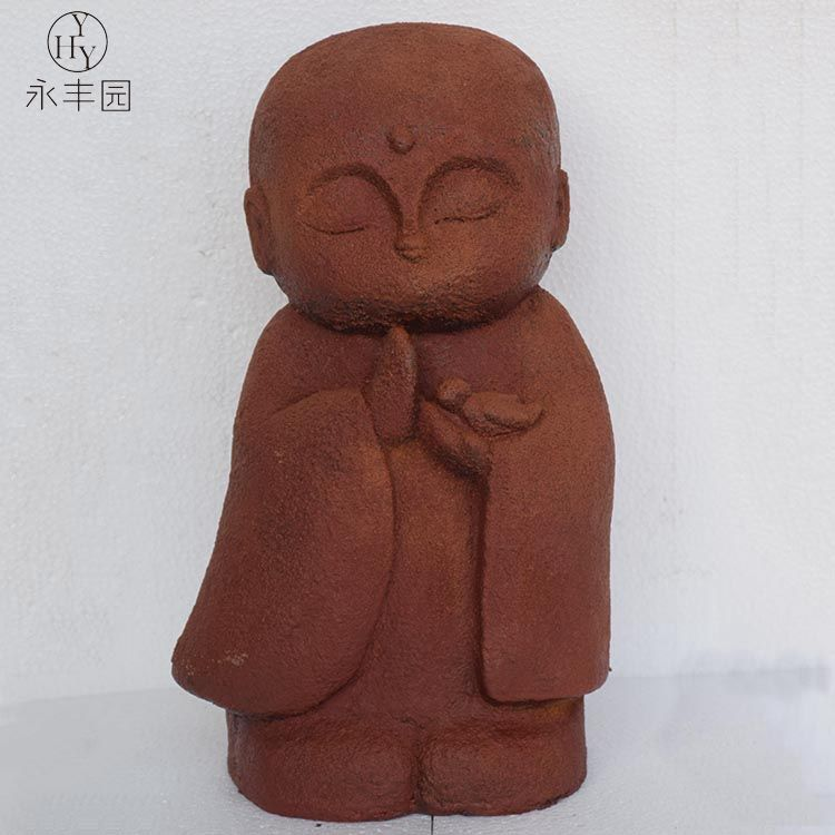 Garden Red Small Baby Monk Buddha stone molds resin Mgo Garden Statue