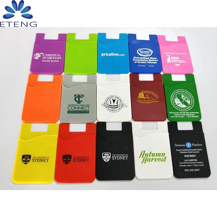 Wholesale cheap custom made phone case card holder, mobile phone wallet case,silicone card holder